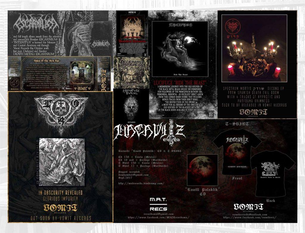 Productos y ediciones de Vomit Records